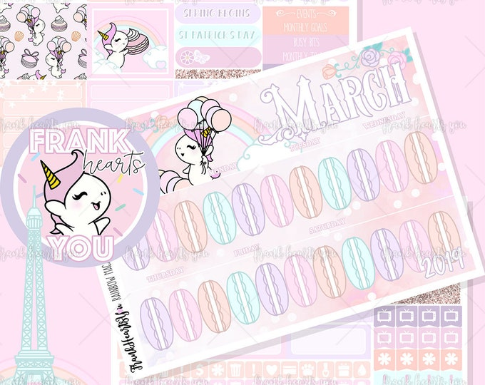 Rainbow Macarons - 2019 March - Sprinkles Monthly Overview Sticker Set