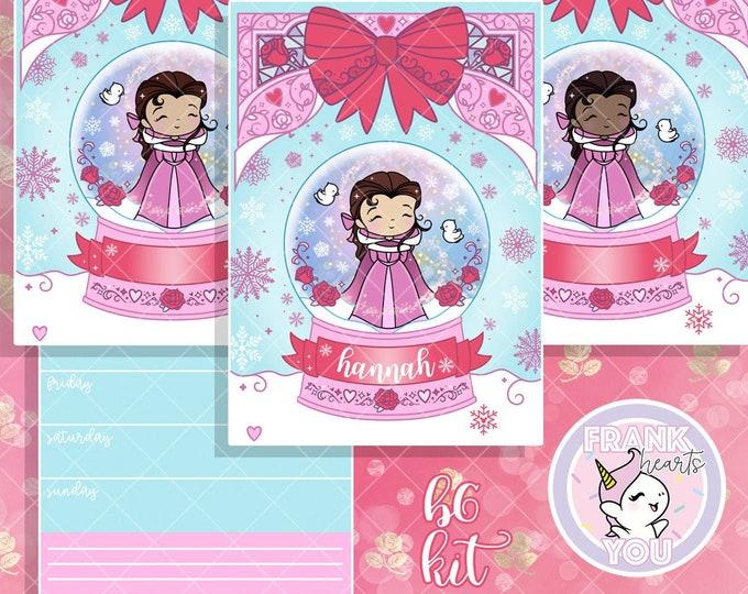 B6 FORMAT - BELLE Snow Globe Sticker Kit - Personalized or Blank