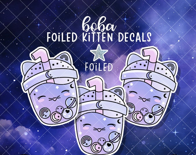 Kitten Constellation Boba - FOILED Sticker Decal - Sold Per Decal - Not Waterproof!