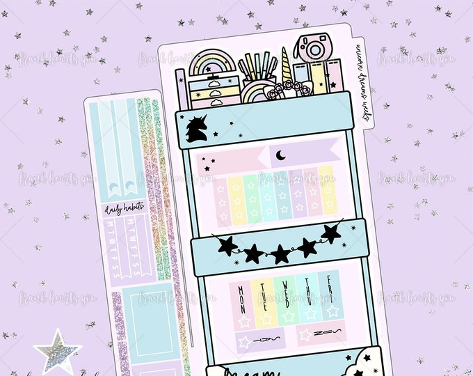 Unicorn Dreams - Planner Cart Foiled Hobo Weeks Sticker Kit