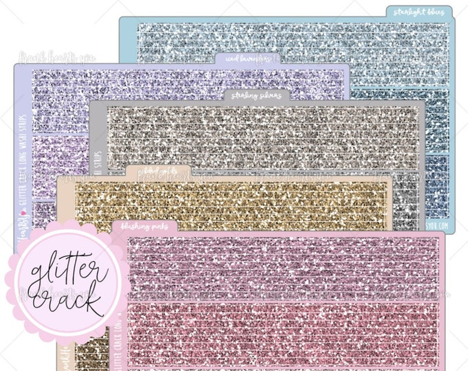 "LAST STOCK! - Vintage Color Collection - Faux ""Glitter Crack"" Washi Style Strips Planner Stickers - EC Vertical"