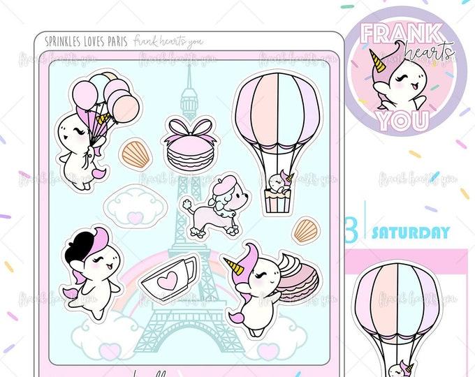 Sprinkles Loves Paris Deco Sheet - Sprinkles the Unicorn Planner Stickers