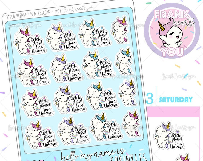 B* Please! I'm a Unicorn - Sprinkles the Unicorn Planner Stickers - 001