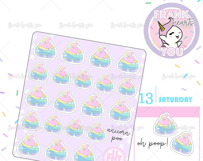 Rainbow Unicorn Poop Planner Stickers
