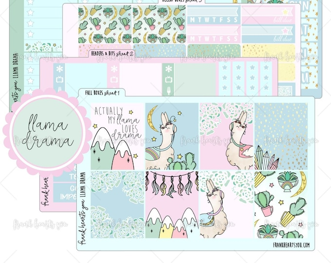 Llama Drama 5 SHEETS - Planner Sticker Set