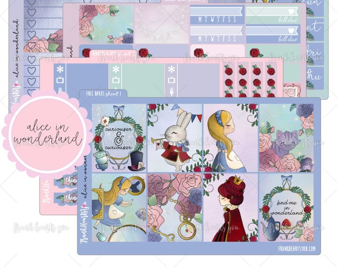 Alice in Wonderland 5 SHEETS - Planner Sticker Set