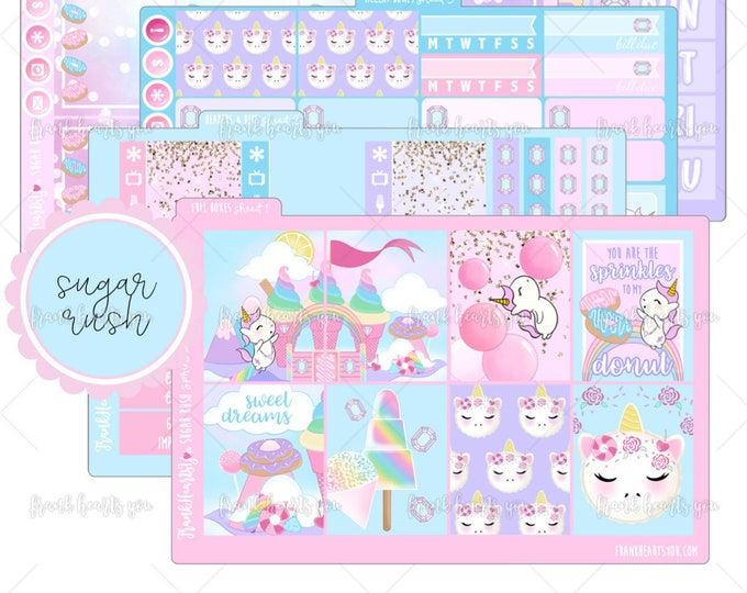 Sugar Rush 5 SHEETS - Sprinkles the Unicorn - Planner Sticker Set