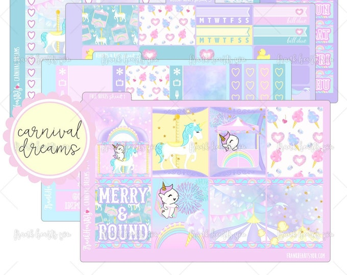 Carnival Dreams 5 SHEETS - Sprinkles the Unicorn - Planner Sticker Set