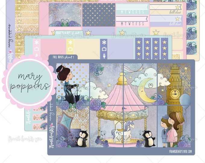 Mary Poppins 5 SHEETS - Planner Sticker Set