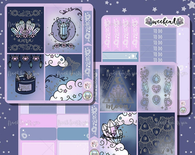 To The Moon EC/Happy Planner Mini Sticker Kit - Collab FOIL