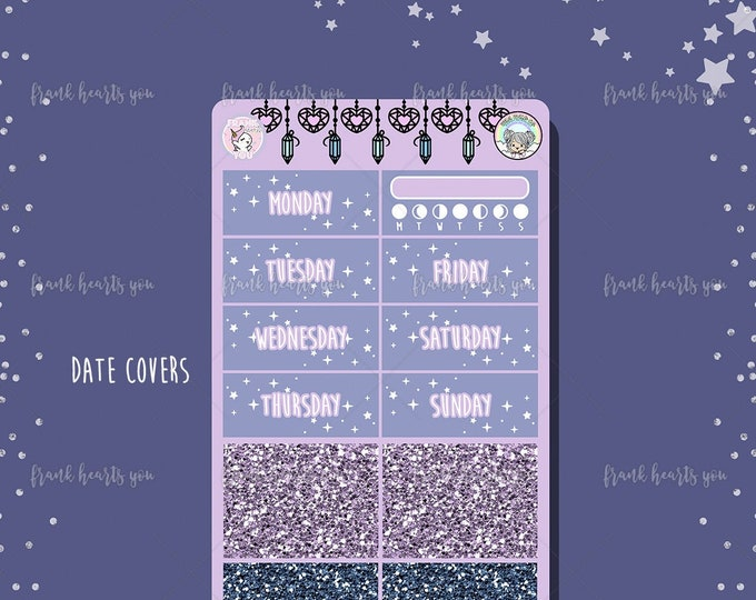 To The Moon Date Covers and Faux Glitter Strips - Add On Sheet COLLAB
