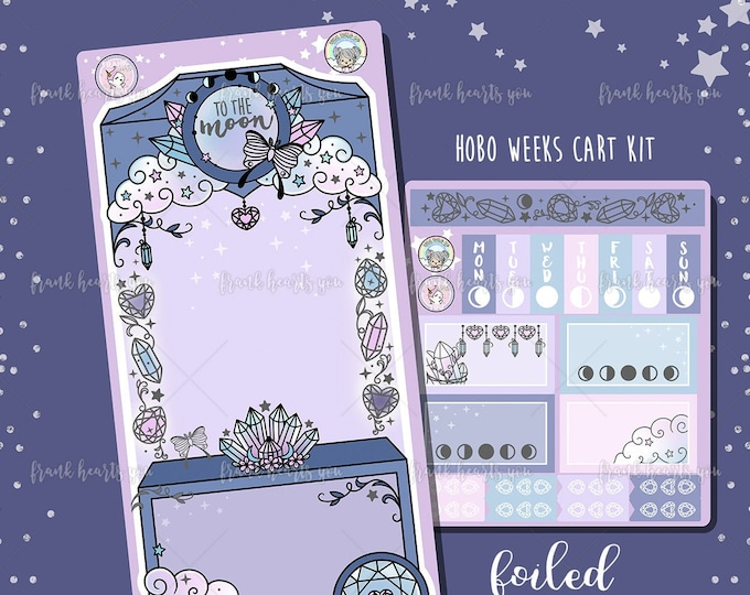 To The Moon Crystal Cart - Hobo Weeks Sticker Kit - Collab FOIL