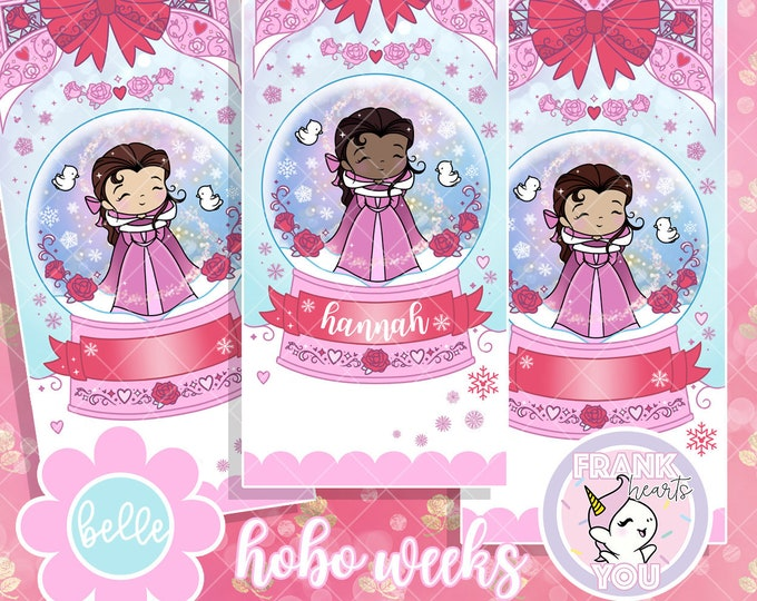 WEEKS FORMAT - Belle Snow Globe Sticker Kit - Personalized or Blank