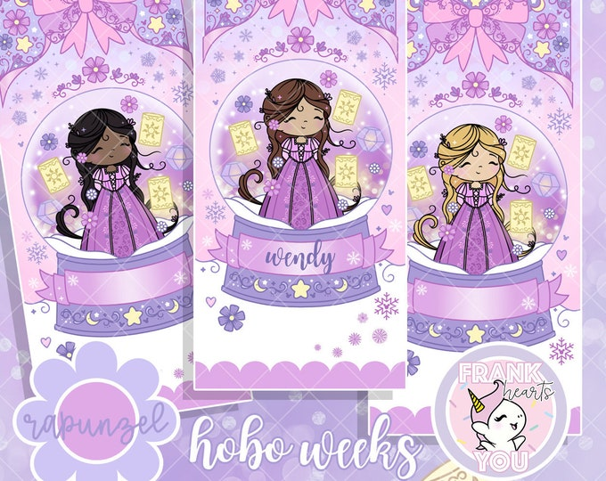 WEEKS FORMAT - Rapunzel Snow Globe Sticker Kit - Personalized or Blank
