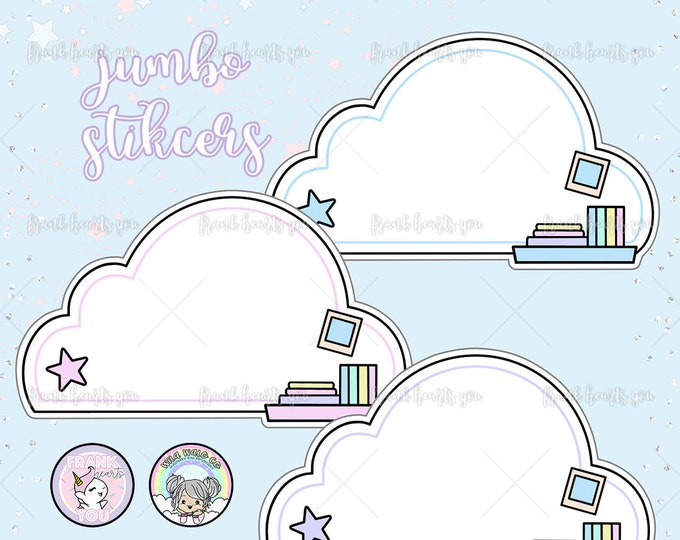 Jumbo Cloud Shelf Notes Sticker Decal Pack of 3
