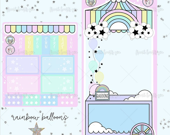 Collab FOIL - Rainbow Balloons Hobo Weeks Sticker Kit