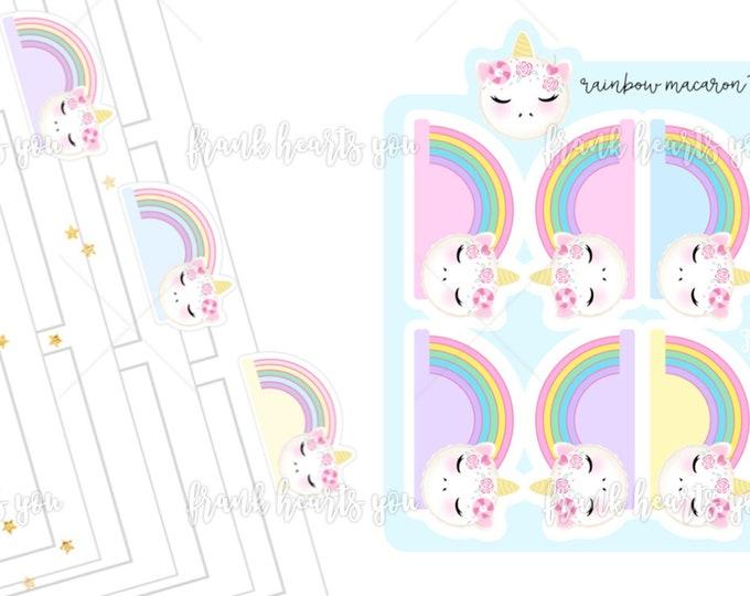 Rainbow Unicorn Macaron Planner Tab Stickers