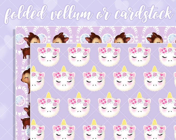 Unicorn Macaron/Deer You're a Gem Papers - Select Vellum or Cardstock
