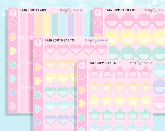 Rainbow Colorway - FHY Everyday Basics Planner Stickers