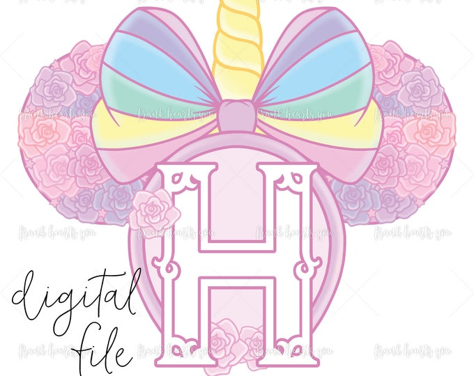 Letter H - DIGITAL - NO Physical Product - Rainbow Rose Monogram Unicorn Mouse Ears