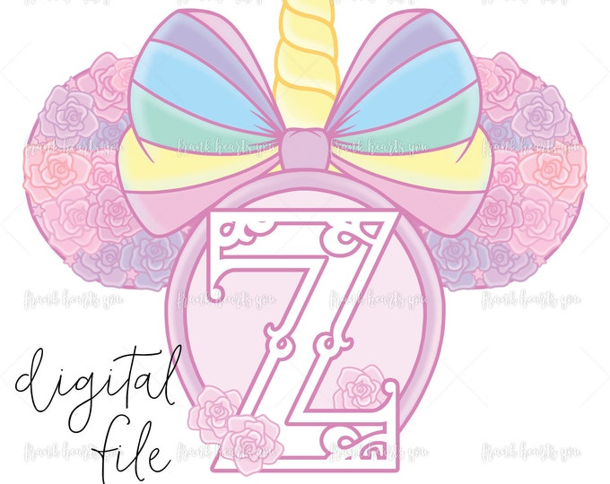 Letter Z - DIGITAL - NO Physical Product - Rainbow Rose Monogram Unicorn Mouse Ears