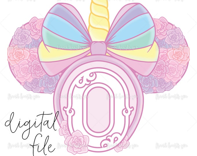 Letter O - DIGITAL - NO Physical Product - Rainbow Rose Monogram Unicorn Mouse Ears