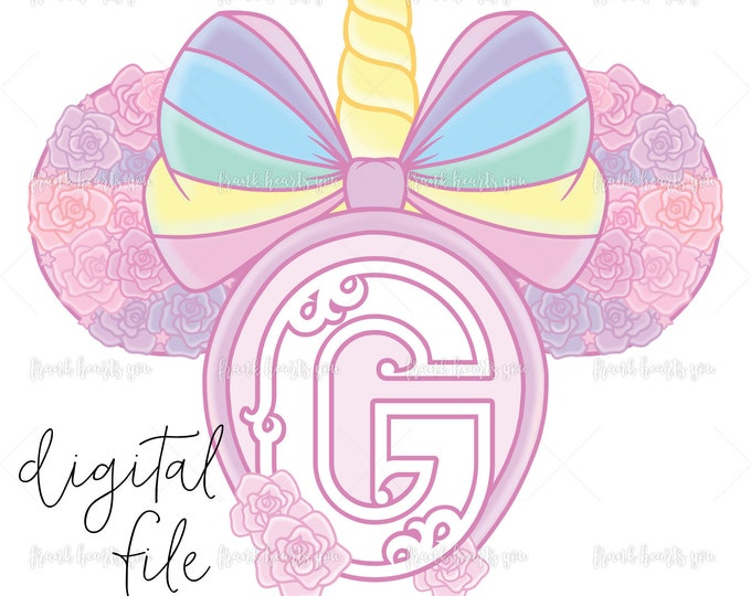 Letter G - DIGITAL - NO Physical Product - Rainbow Rose Monogram Unicorn Mouse Ears