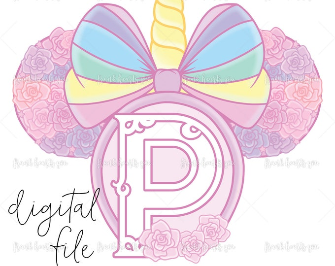 Letter P - DIGITAL - NO Physical Product - Rainbow Rose Monogram Unicorn Mouse Ears