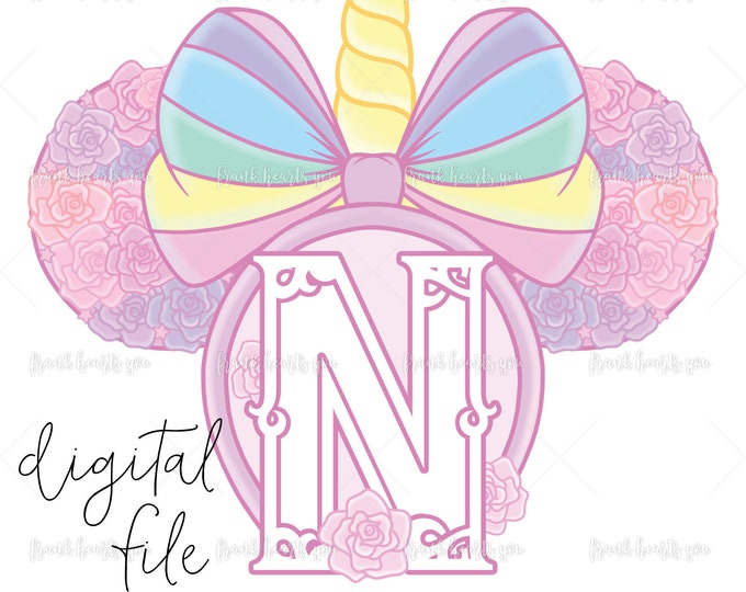 Letter N - DIGITAL - NO Physical Product - Rainbow Rose Monogram Unicorn Mouse Ears
