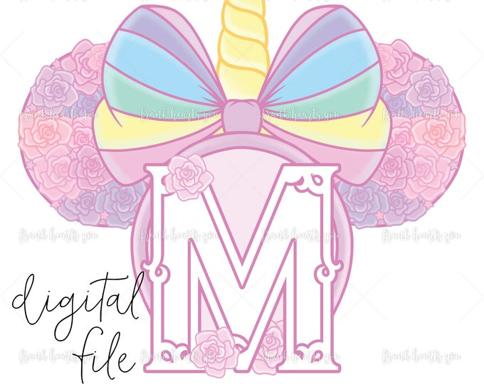 Letter M - DIGITAL - NO Physical Product - Rainbow Rose Monogram Unicorn Mouse Ears