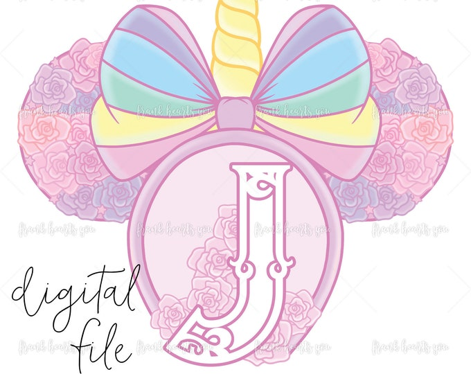 Letter J - DIGITAL - NO Physical Product - Rainbow Rose Monogram Unicorn Mouse Ears