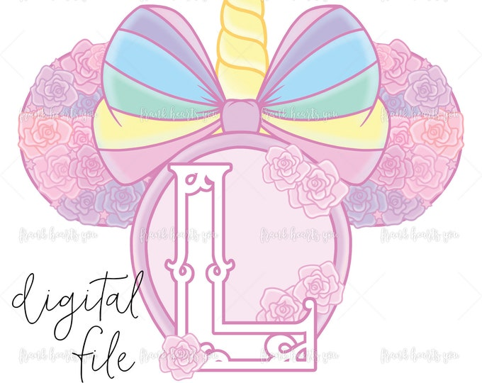 Letter L - DIGITAL - NO Physical Product - Rainbow Rose Monogram Unicorn Mouse Ears