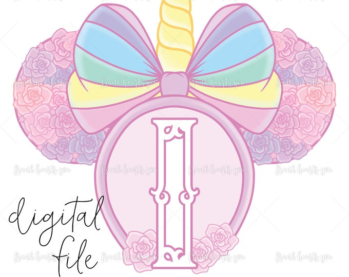 Letter I - DIGITAL - NO Physical Product - Rainbow Rose Monogram Unicorn Mouse Ears
