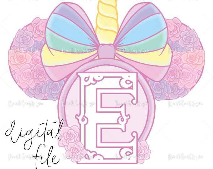 Letter E - DIGITAL - NO Physical Product - Rainbow Rose Monogram Unicorn Mouse Ears