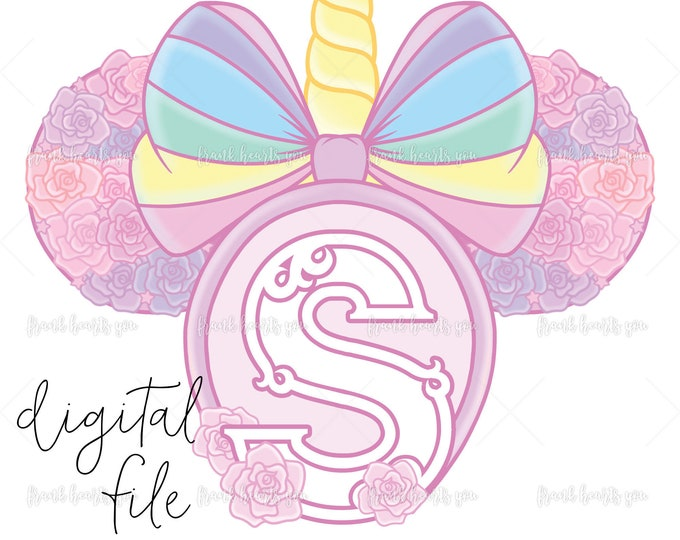 Letter S - DIGITAL - NO Physical Product - Rainbow Rose Monogram Unicorn Mouse Ears