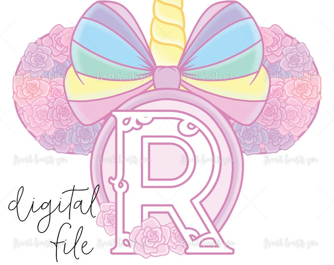 Letter R - DIGITAL - NO Physical Product - Rainbow Rose Monogram Unicorn Mouse Ears