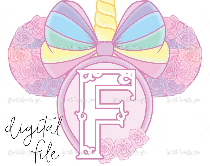 Letter F - DIGITAL - NO Physical Product - Rainbow Rose Monogram Unicorn Mouse Ears