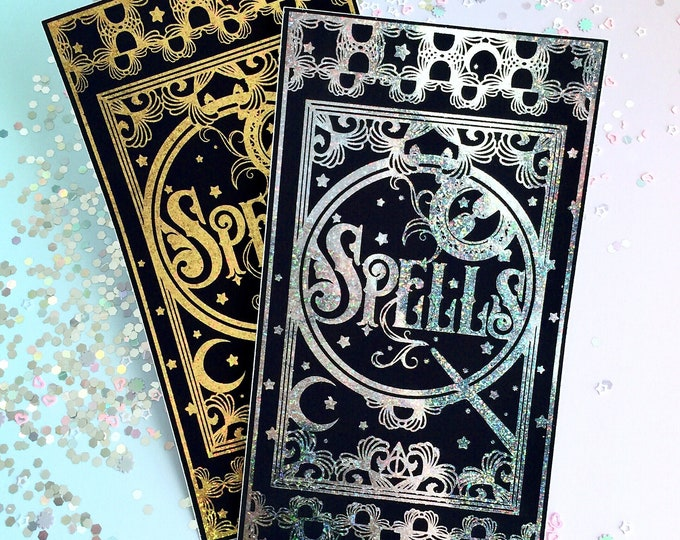 Jumbo Foiled Spell Book Sticker