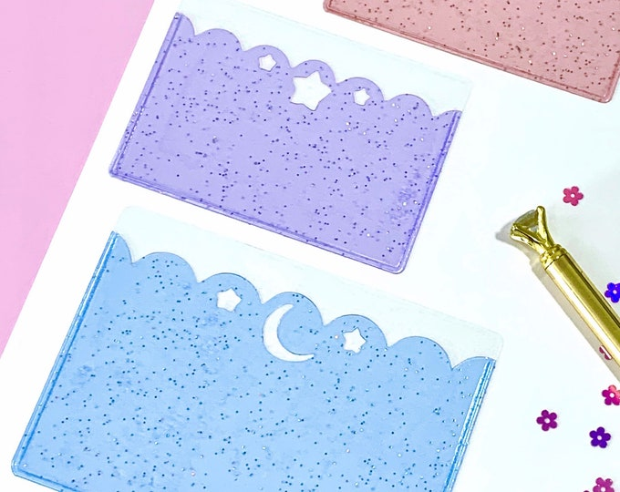 Adhesive Glitter Jelly Star and Moon Scallop Pocket