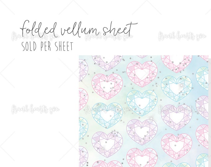 Rainbow Heart Gem - 1 Sheet Folded Vellum