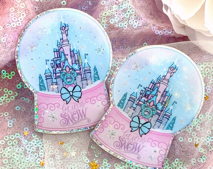 Limited Edition - Let It Snow Pink Castle - Snow Globe Glitter Decal