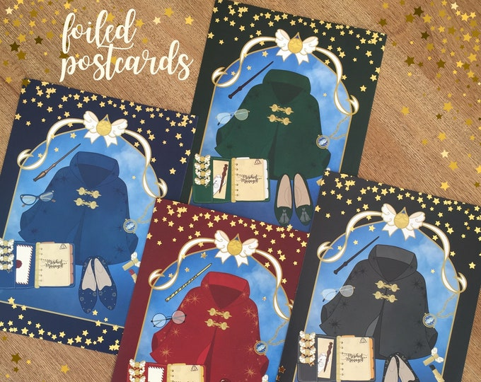 Planner Girl Flat Lay Gold Foiled Postcards