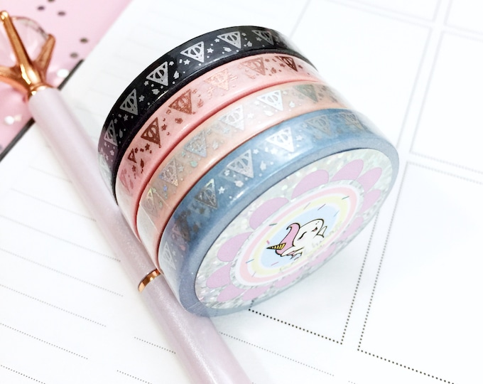 7MM Thin Deathly Holo - Foil Washi Tape - Sold Per Roll