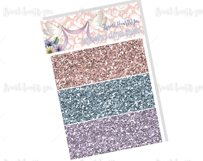 Lovey Dovey - Faux Glitter Headers - Add On Mini Sheet