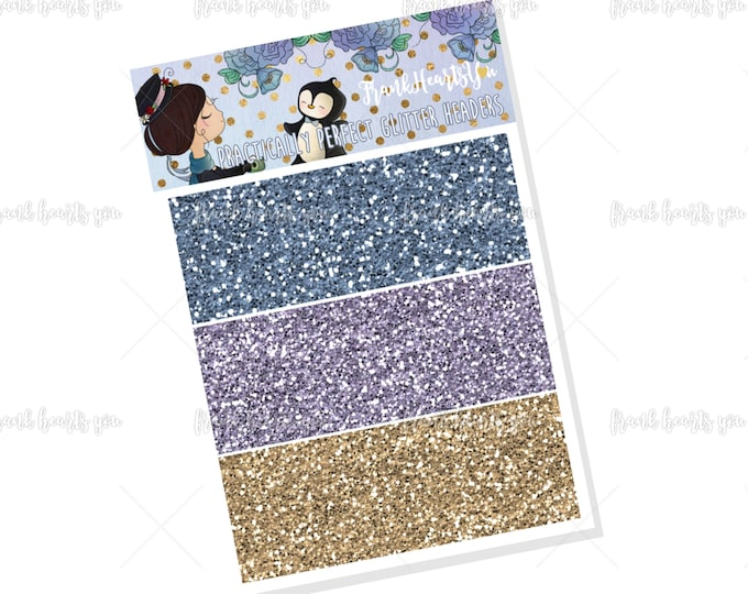 Practically Perfect - Mary Poppins Faux Glitter Headers - Add On Mini Sheet