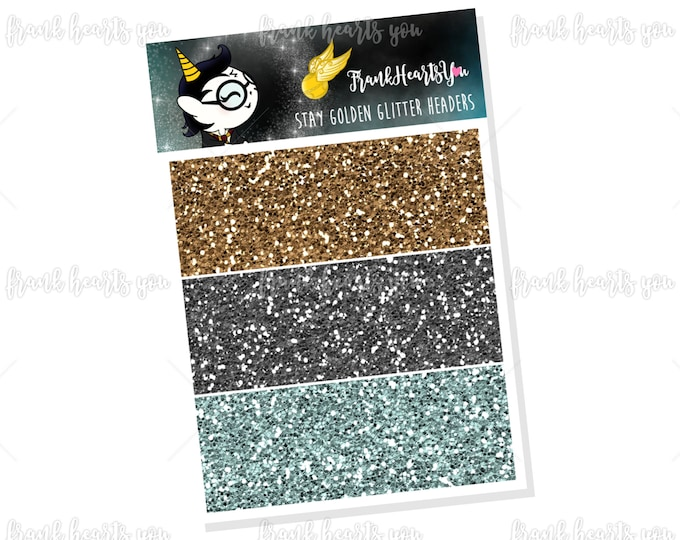Through The Trapdoor Stay Golden Faux Glitter Headers - Add On Mini Sheet
