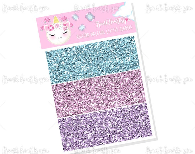 Unicorn Macaron Faux Glitter Headers - Add On Mini Sheet