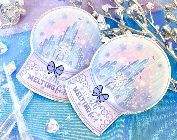 Limited Edition - Worth Melting For Ice Castle - Snow Globe Glitter Decal