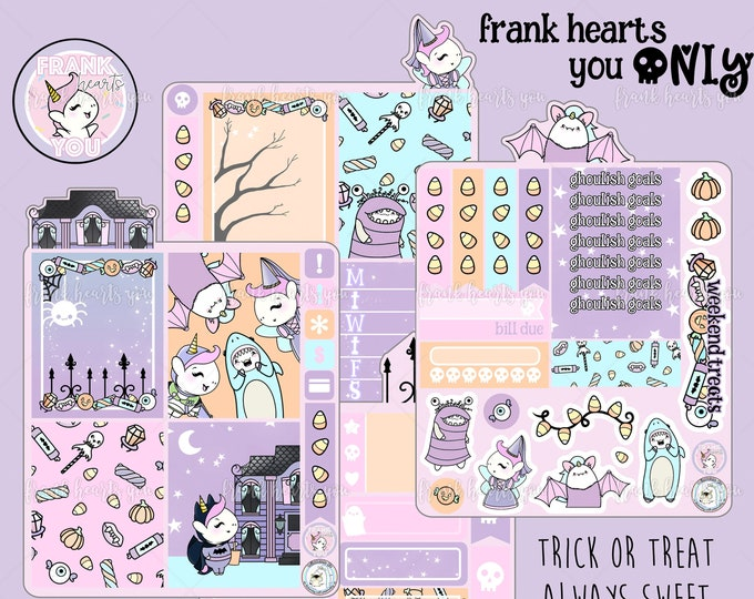 ENDS This *SUNDAY* - Trick or Treat Always Sweet ErinC/Happy Planner Mini Kit Collab - 4 Sheets