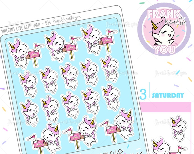 Unicorns Love Happy Mail! - Sprinkles Mail/Letter Planner Stickers - 034